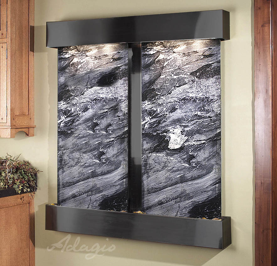 The Cottonwood Falls Wall Water Feature With Marble And Blackened Copper